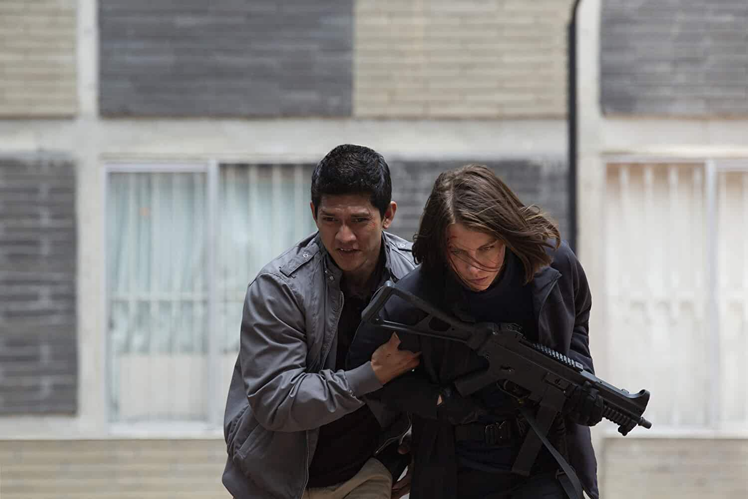 Lauren Cohan and Iko Uwais in Mile 22 (2018)