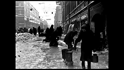 The city of Leningrad and the blockade during the Second World War. No words. No music. Only sounds and black and white images of a dying city.