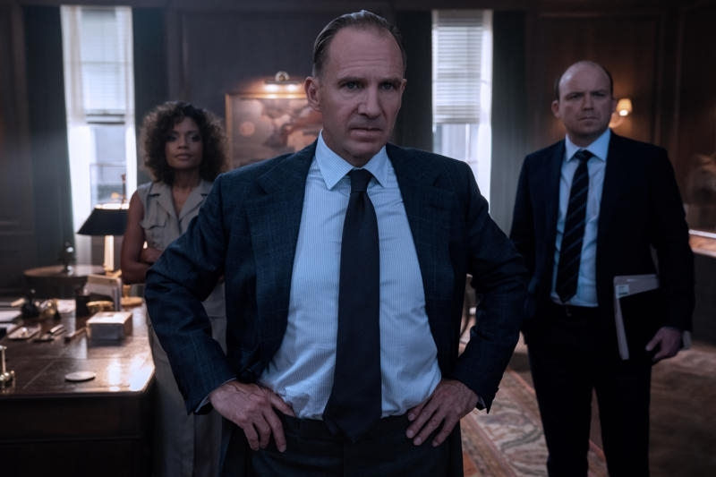 Ralph Fiennes, Naomie Harris, and Rory Kinnear in No Time to Die (2021)