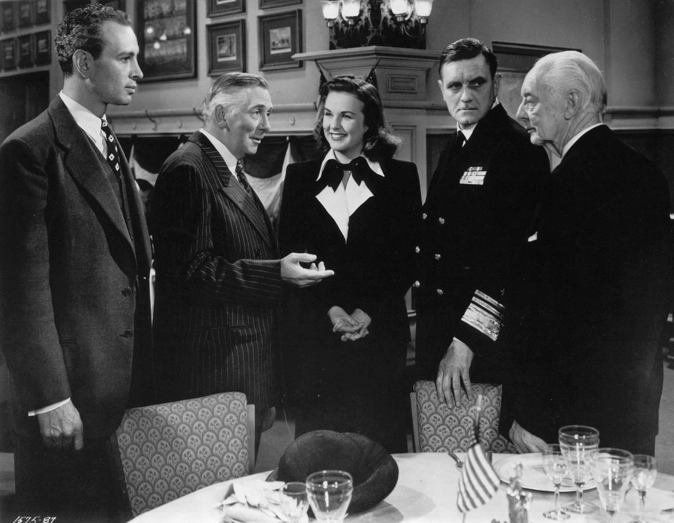 Deanna Durbin, Harry Davenport, Morris Ankrum, Ray Collins, and Jeffrey Lynn in For the Love of Mary (1948)