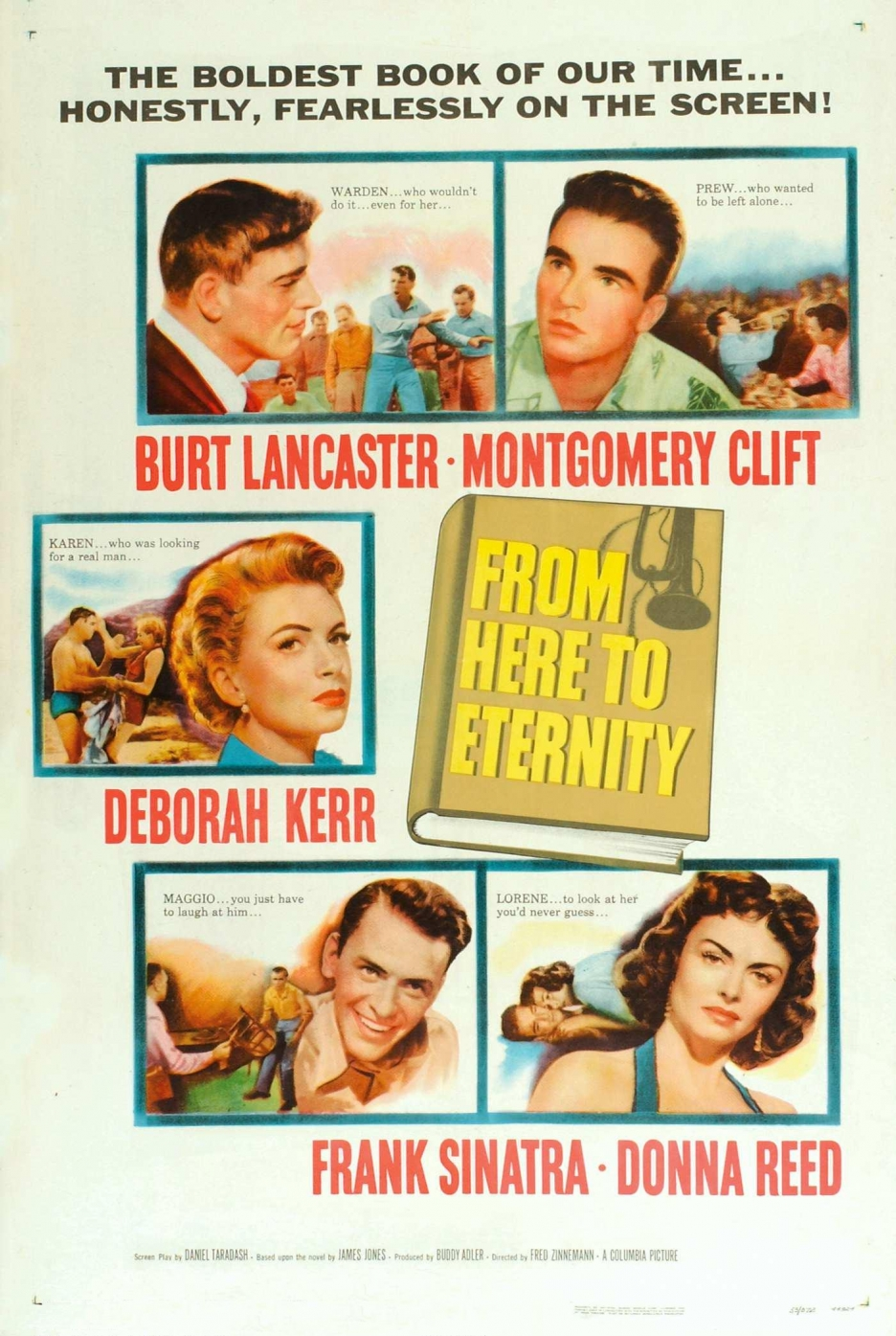 Deborah Kerr, Burt Lancaster, Frank Sinatra, Ernest Borgnine, Montgomery Clift, and Donna Reed in From Here to Eternity (1953)