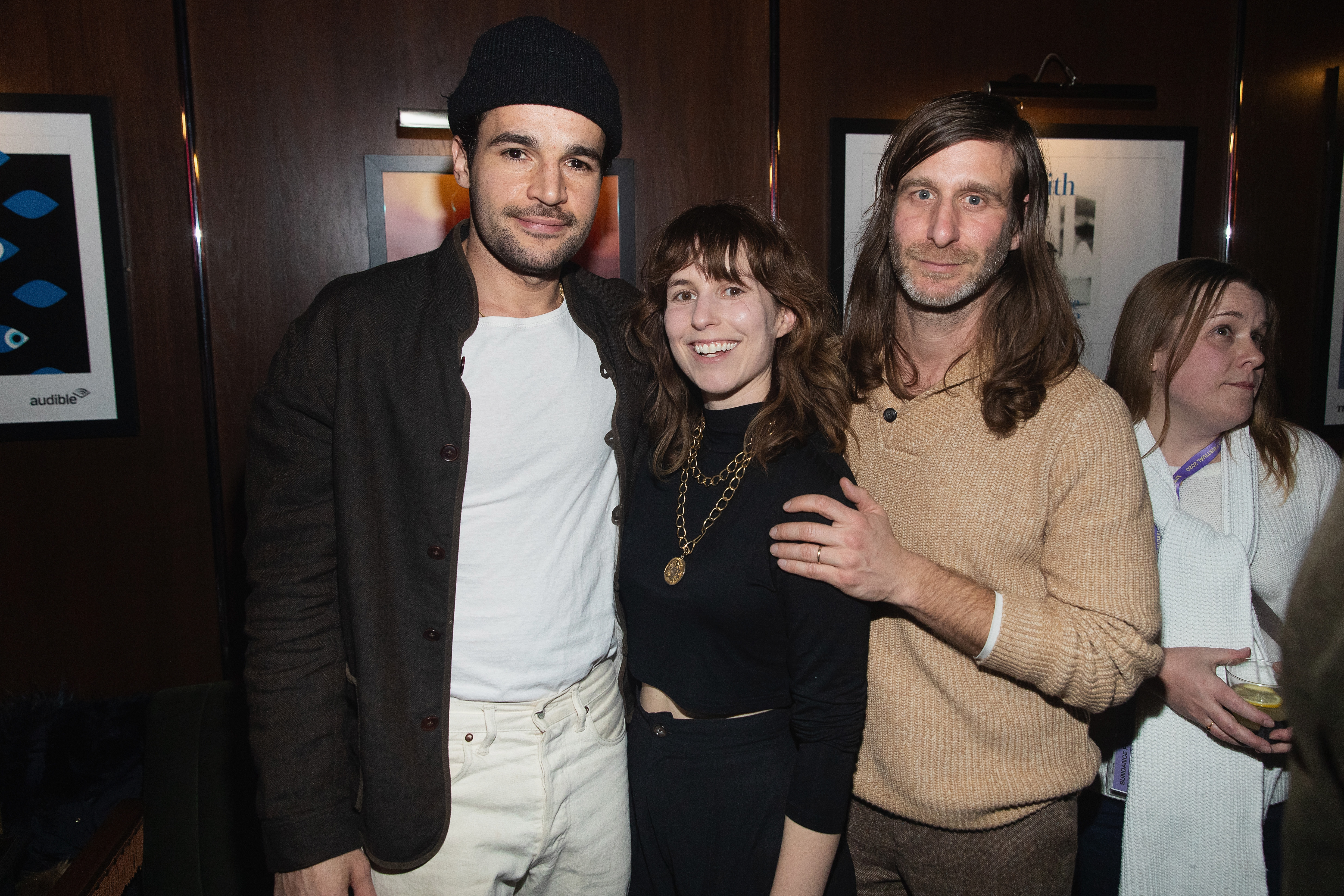 Lawrence Michael Levine, Sophia Takal, and Christopher Abbott at an event for Black Bear (2020)