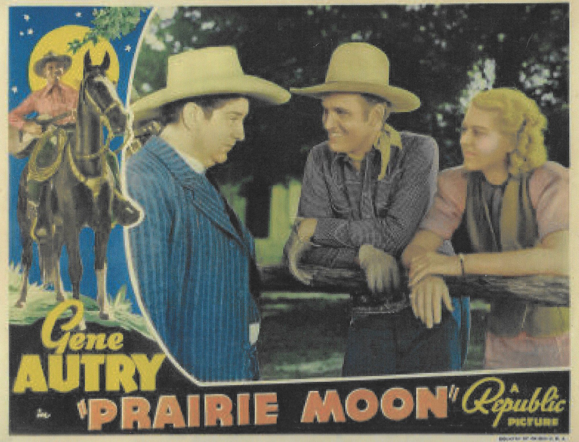 Gene Autry, Smiley Burnette, Shirley Deane, and Champion in Prairie Moon (1938)