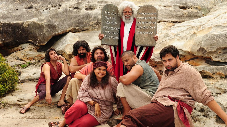 Jack Charles, Aaron Fa'aoso, Jon Bell, Elizabeth Wymarra, Bjorn Stewart, Majhid Heath, and Steven Oliver in Black Comedy (2014)