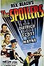 Marlene Dietrich, Randolph Scott, John Wayne, Harry Carey, and Margaret Lindsay in The Spoilers (1942)