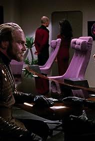 Marina Sirtis, Patrick Stewart, Chad Allen, and Sherman Howard in Star Trek: The Next Generation (1987)