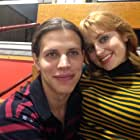 Chase Mowen and Shannon Collis on the set of American Wrestler the Wizard
