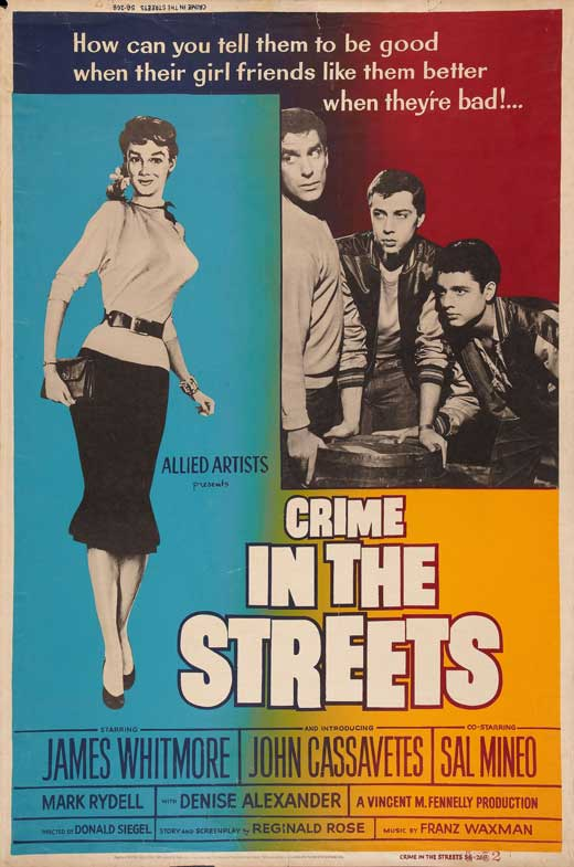 Sal Mineo, John Cassavetes, Denise Alexander, and James Whitmore in Crime in the Streets (1956)