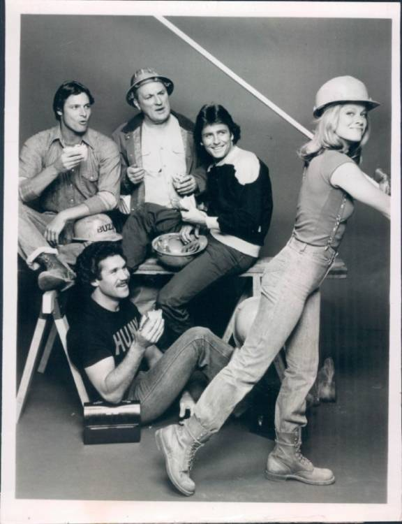 Douglas Barr, Philip Brown, Susan Buckner, Tim Rossovich, and Dolph Sweet in When the Whistle Blows (1980)