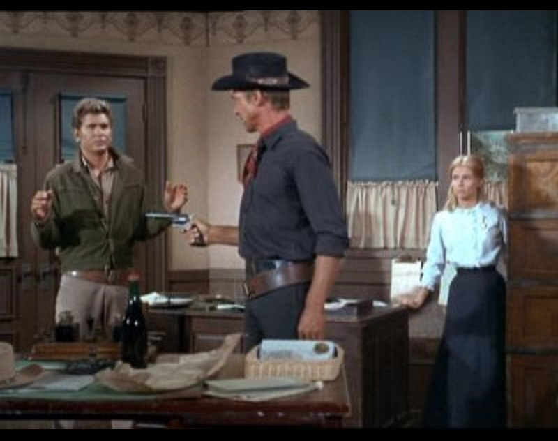 Michael Landon, Davey Davison, and Bill Fletcher in Bonanza (1959)