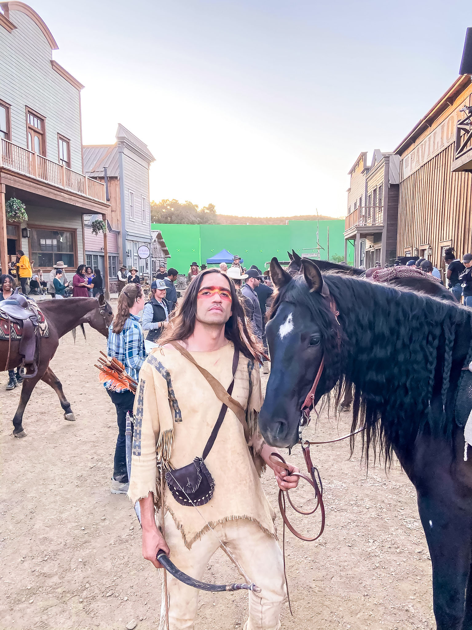 """Behind the scenes of Nicholas Walker and Odie on the set of """"The Outlaw Johnny Black"""""""