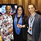 Neil Holland and Sibyl Santiago alongside the founder of the UAS International Action Film Festival, Demetrius Angelo, where they were representing MORTAL WOUNDS at Awards Night