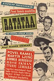Gunwer Bergkvist, Hasse Ekman, Martin Ljung, Yvonne Lombard, and Povel Ramel in Ratataa eller The Staffan Stolle Story (1956)