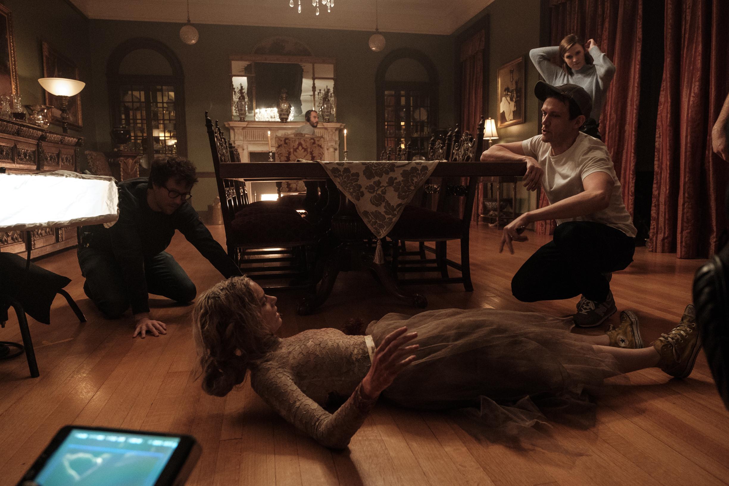 Matt Bettinelli-Olpin, Tyler Gillett, and Samara Weaving in Ready or Not (2019)
