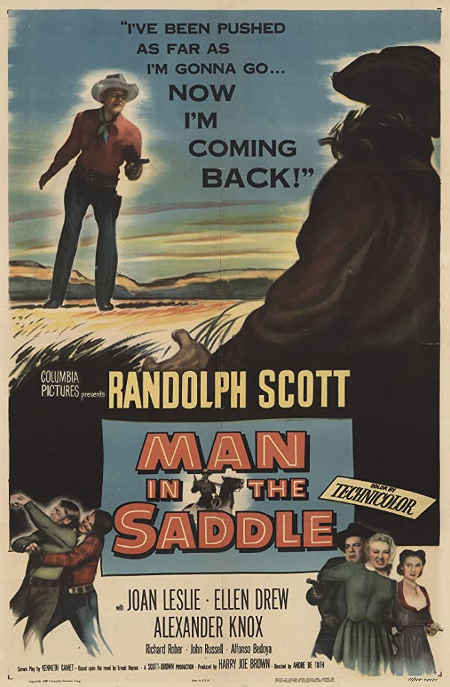 Randolph Scott, Ellen Drew, Joan Leslie, and Richard Rober in Man in the Saddle (1951)