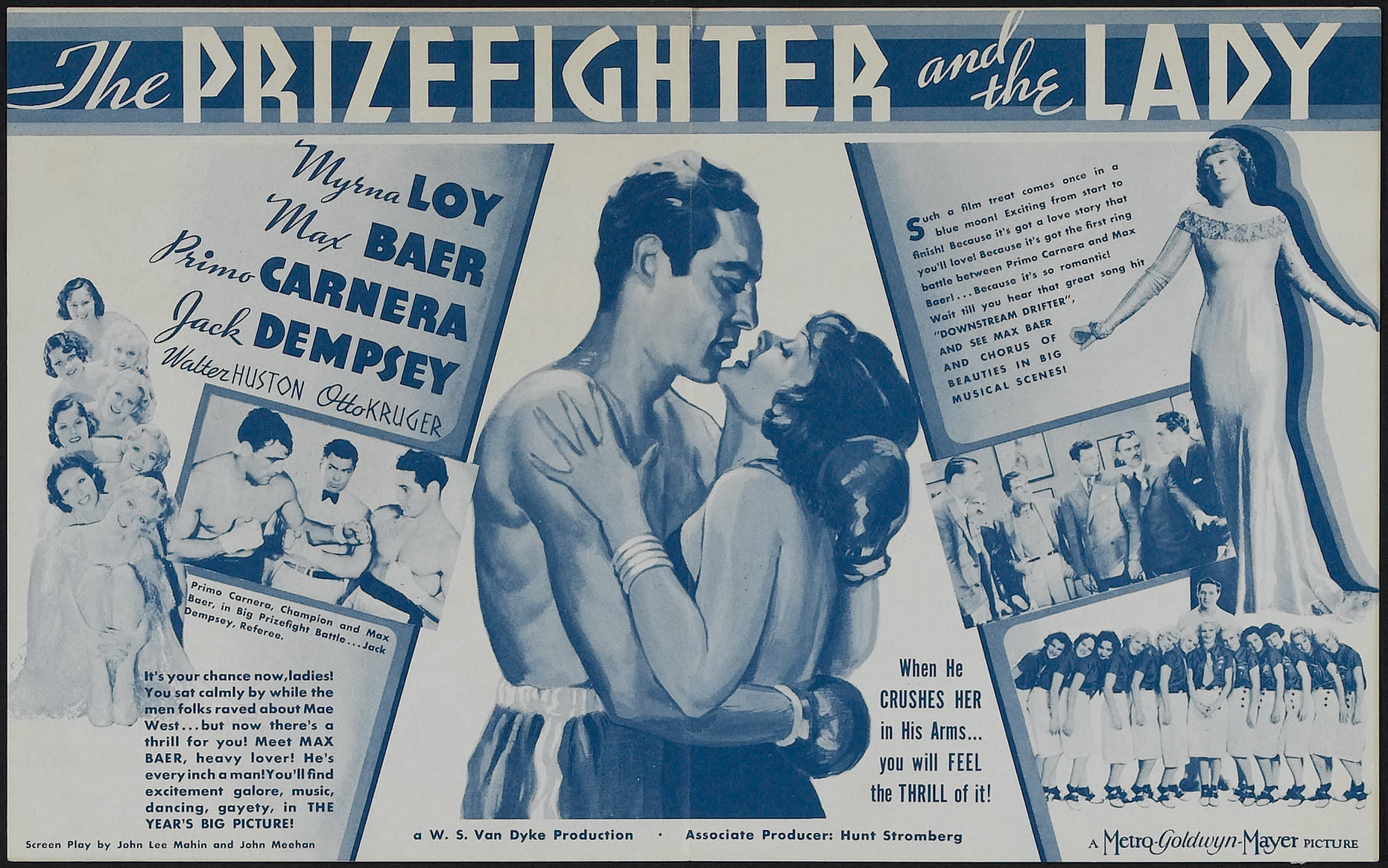 Myrna Loy, Zita Baca, Max Baer, Primo Carnera, Jack Dempsey, Jean Howard, Walter Huston, and Miriam Marlin in The Prizefighter and the Lady (1933)