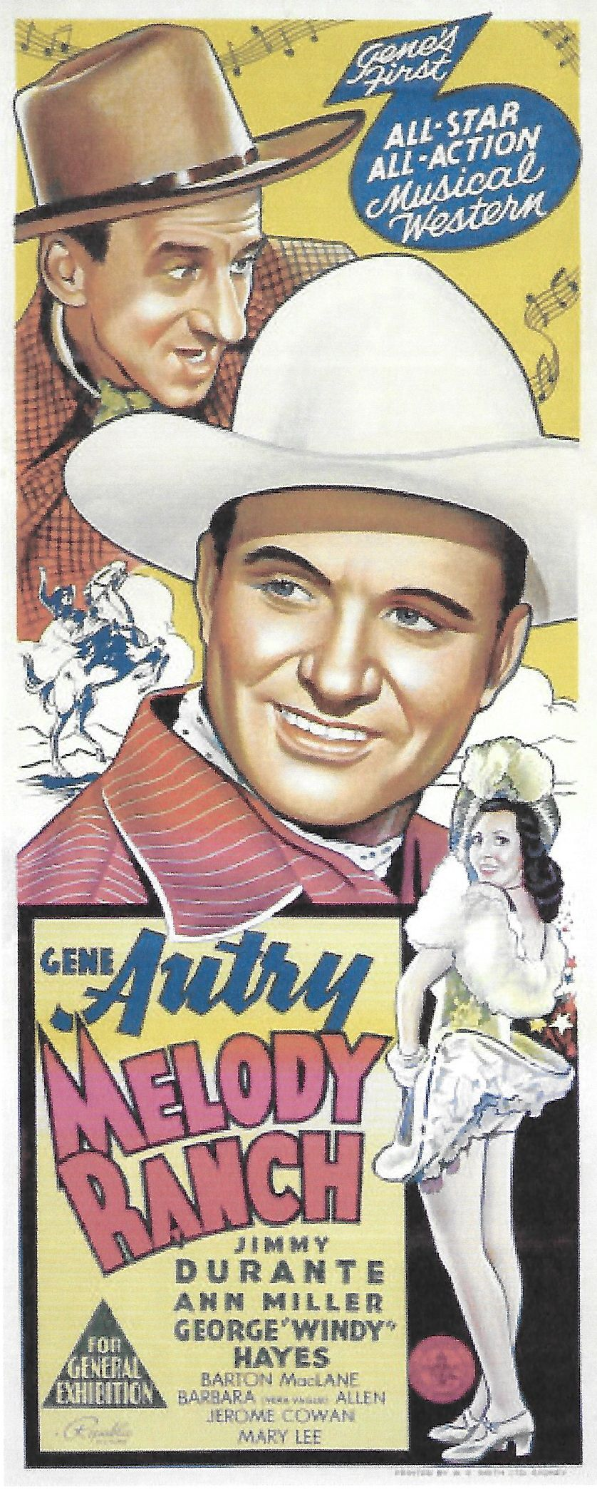 Gene Autry, Jimmy Durante, and Ann Miller in Melody Ranch (1940)