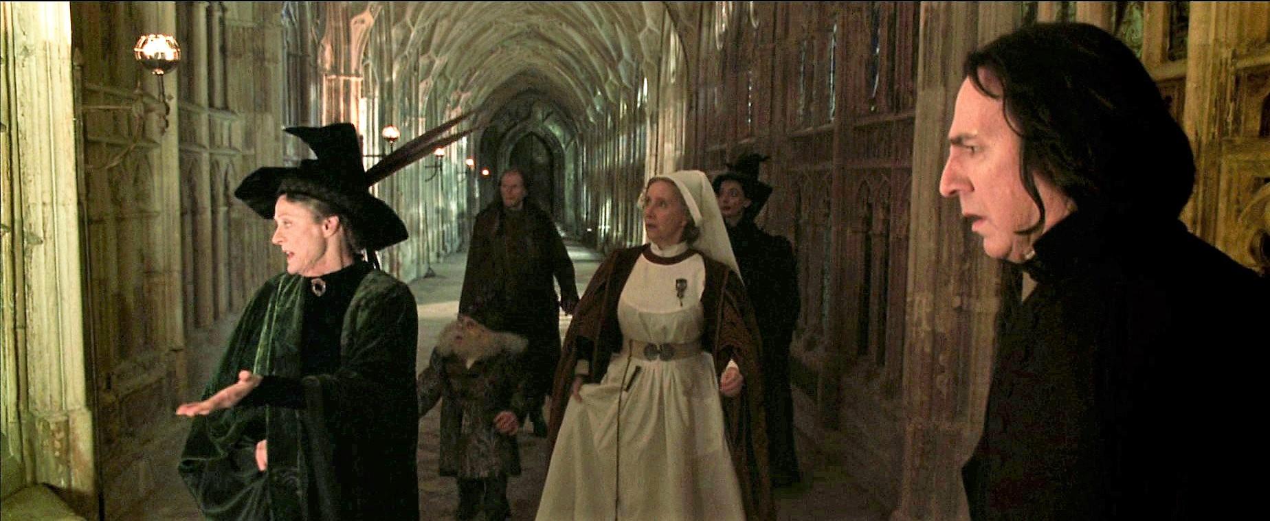 Alan Rickman, Warwick Davis, Maggie Smith, David Bradley, Gemma Jones, and Sally Mortemore in Harry Potter and the Chamber of Secrets (2002)