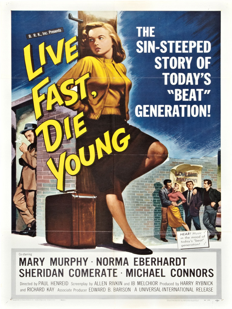 Troy Donahue, Sheridan Comerate, Mike Connors, Norma Eberhardt, Peggy Maley, and Mary Murphy in Live Fast, Die Young (1958)