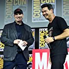 Kevin Feige and Destin Daniel Cretton at an event for Shang-Chi and the Legend of the Ten Rings (2021)