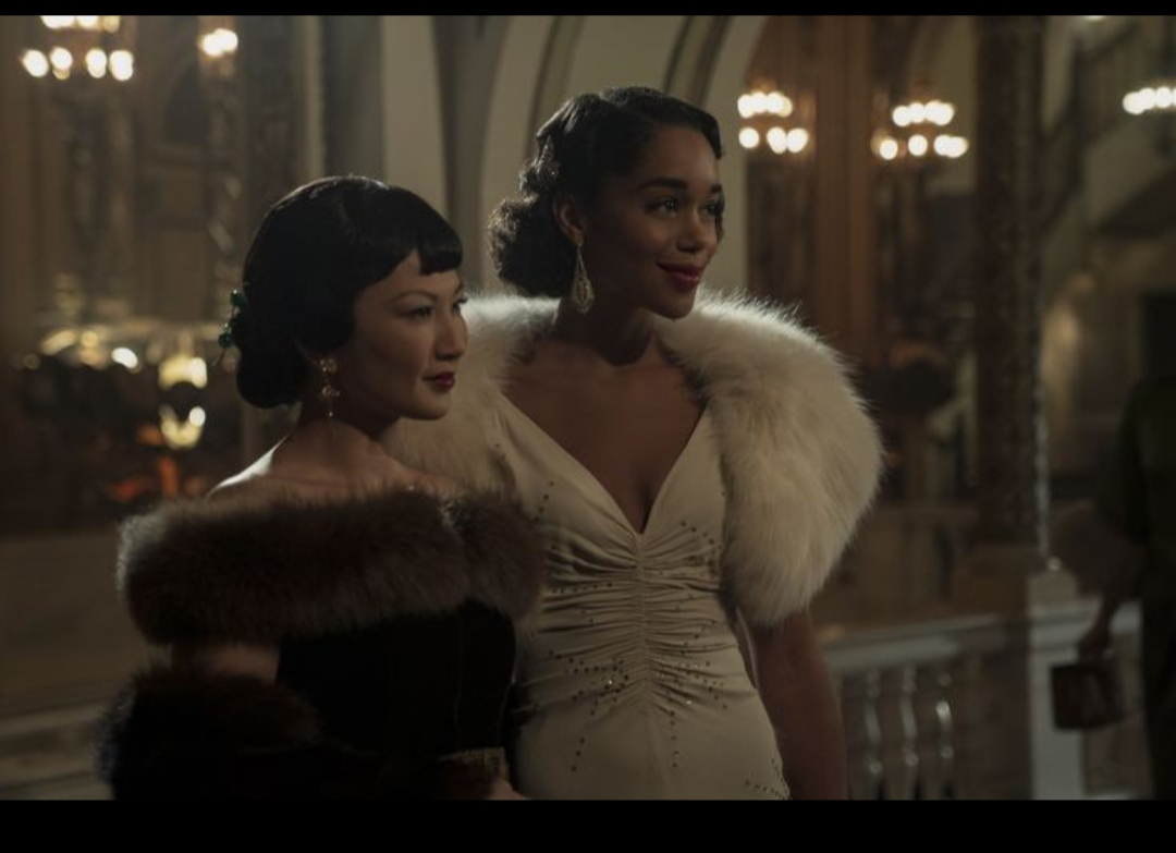 Michelle Krusiec and Laura Harrier in A Hollywood Ending (2020)