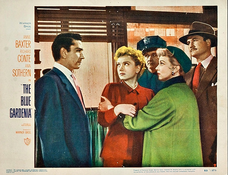 Anne Baxter, George Reeves, Richard Conte, and Ann Sothern in The Blue Gardenia (1953)