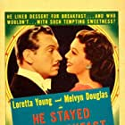 Melvyn Douglas and Loretta Young in He Stayed for Breakfast (1940)
