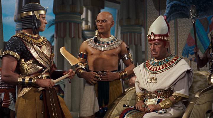Charlton Heston, Yul Brynner, and Cedric Hardwicke in The Ten Commandments (1956)