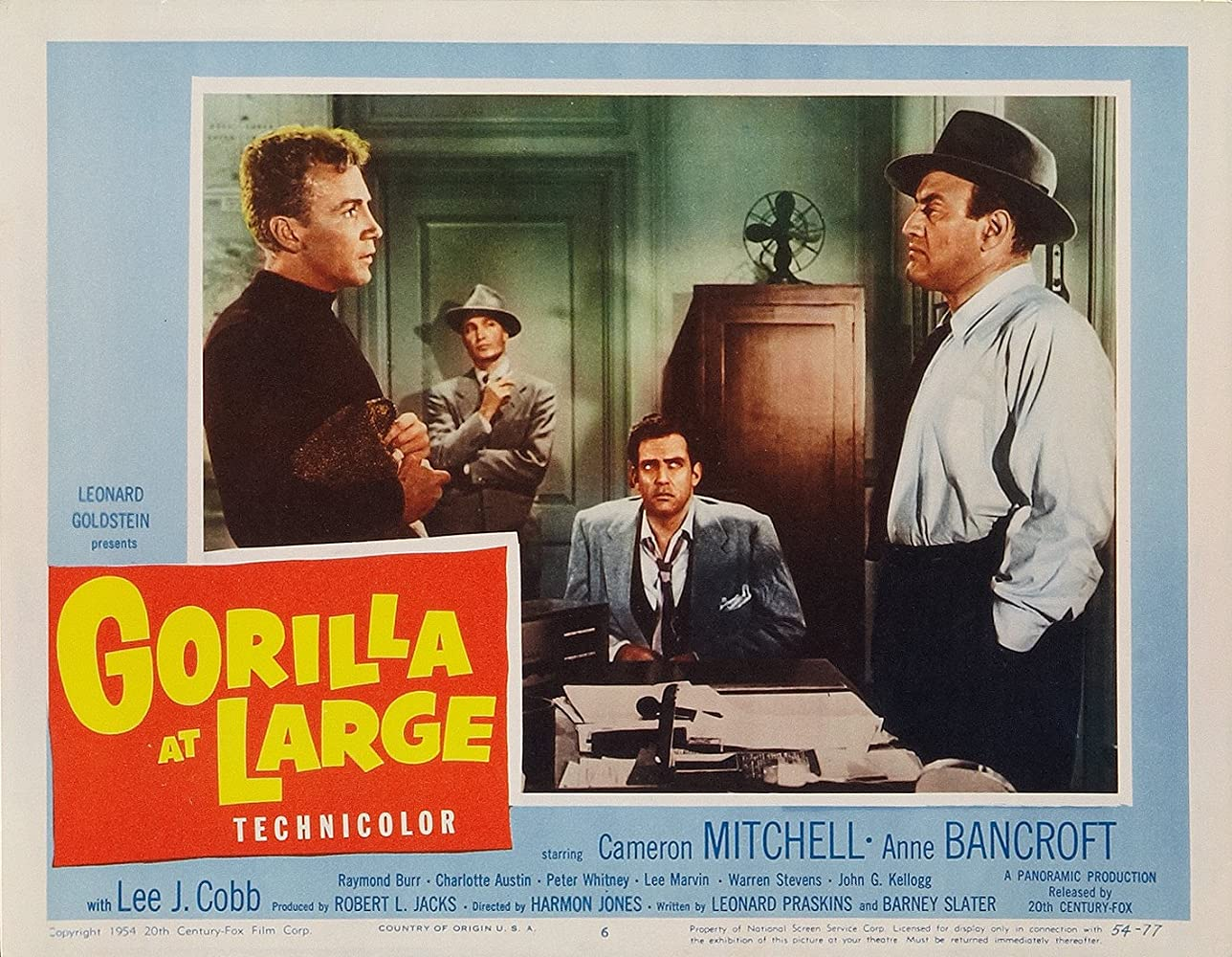 Anne Bancroft, Lee J. Cobb, Cameron Mitchell, and Warren Stevens in Gorilla at Large (1954)