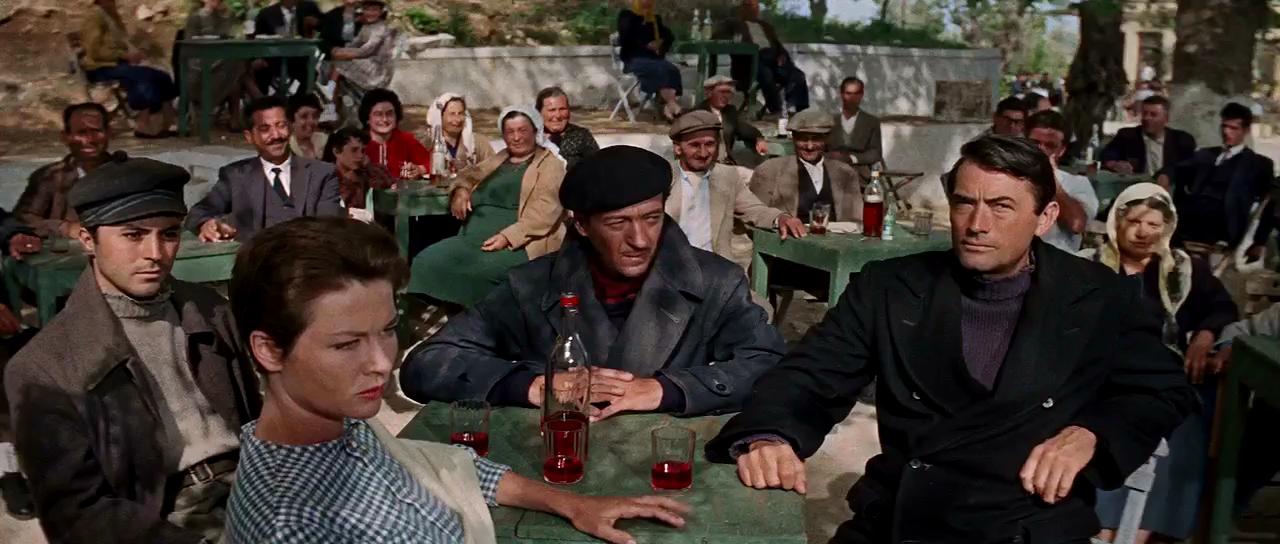 David Niven, Gregory Peck, James Darren, and Gia Scala in The Guns of Navarone (1961)