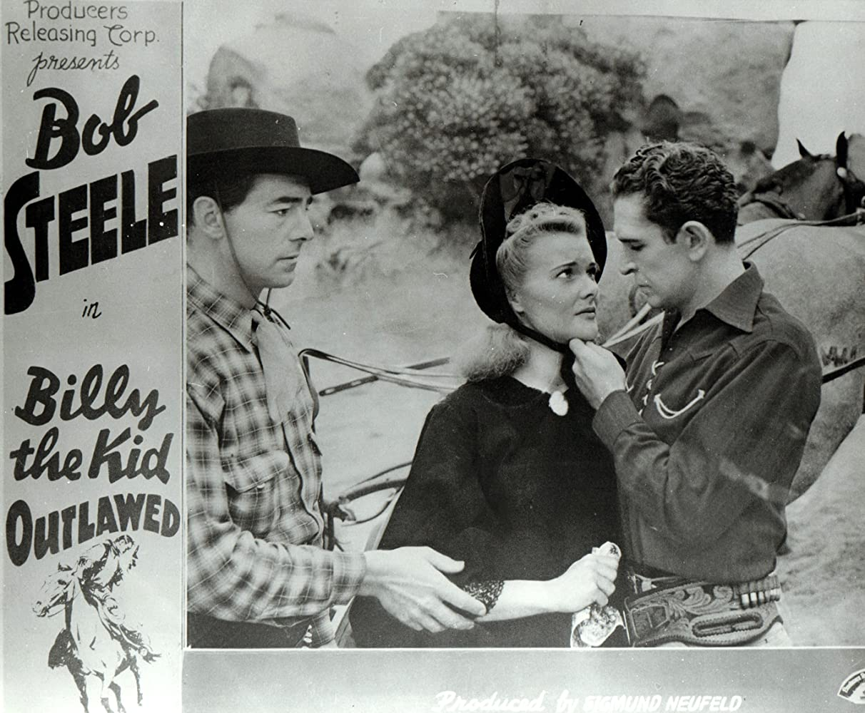 Louise Currie, Kenne Duncan, and Bob Steele in Billy the Kid Outlawed (1940)