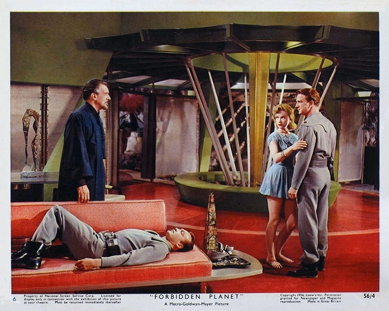 Leslie Nielsen, Anne Francis, and Walter Pidgeon in Forbidden Planet (1956)