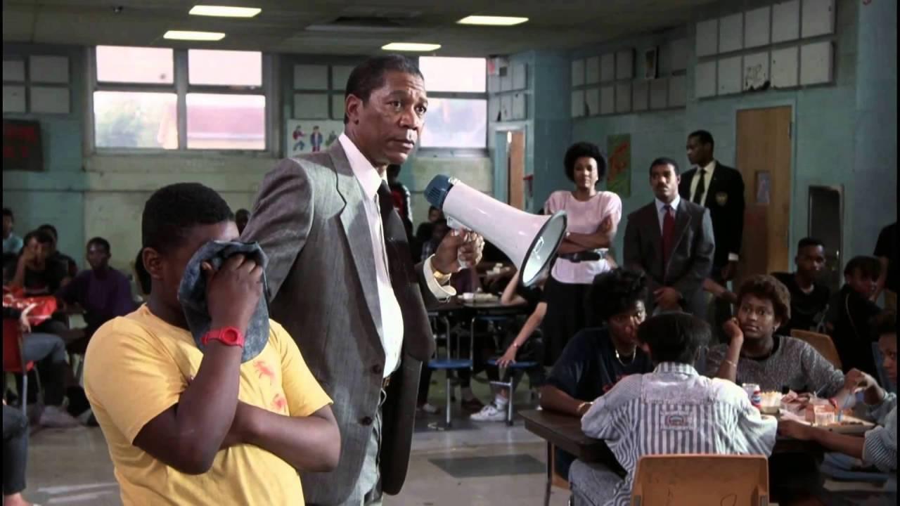 Morgan Freeman, Michael Beach, and Jermaine Hopkins in Lean on Me (1989)