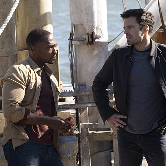 Anthony Mackie and Sebastian Stan in The Falcon and the Winter Soldier (2021)