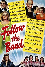 Leo Carrillo, Donna King, Leon Errol, Mary Beth Hughes, Alyce King, Luise King, Yvonne King, Frances Langford, Eddie Quillan, and Anne Rooney in Follow the Band (1943)