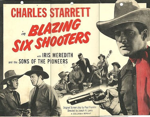 Pat Brady, Al Bridge, Dick Curtis, Hugh Farr, Karl Farr, Bob Nolan, Lloyd Perryman, Sons of the Pioneers, Tim Spencer, and Charles Starrett in Blazing Six Shooters (1940)