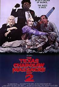 Ken Evert, Bill Johnson, Bill Moseley, and Jim Siedow in The Texas Chainsaw Massacre 2 (1986)