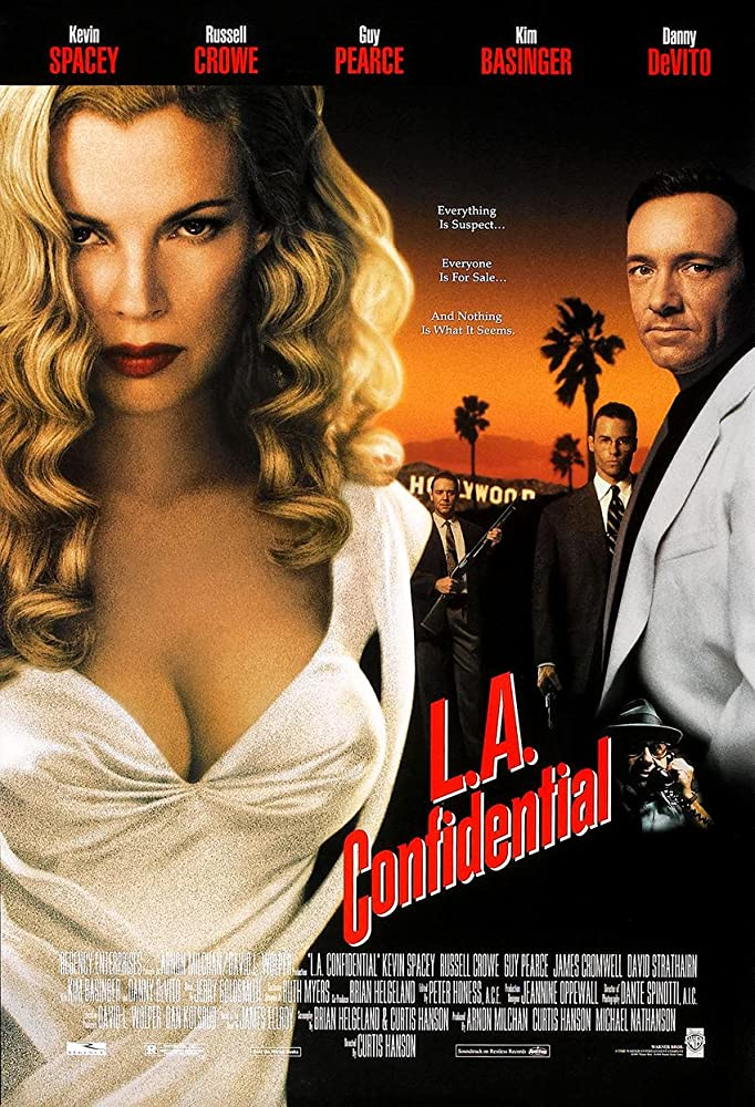 Kim Basinger, Russell Crowe, Kevin Spacey, and Guy Pearce in L.A. Confidential (1997)