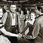John Drew Barrymore, John Archer, Lois Butler, and Kristine Miller in High Lonesome (1950)