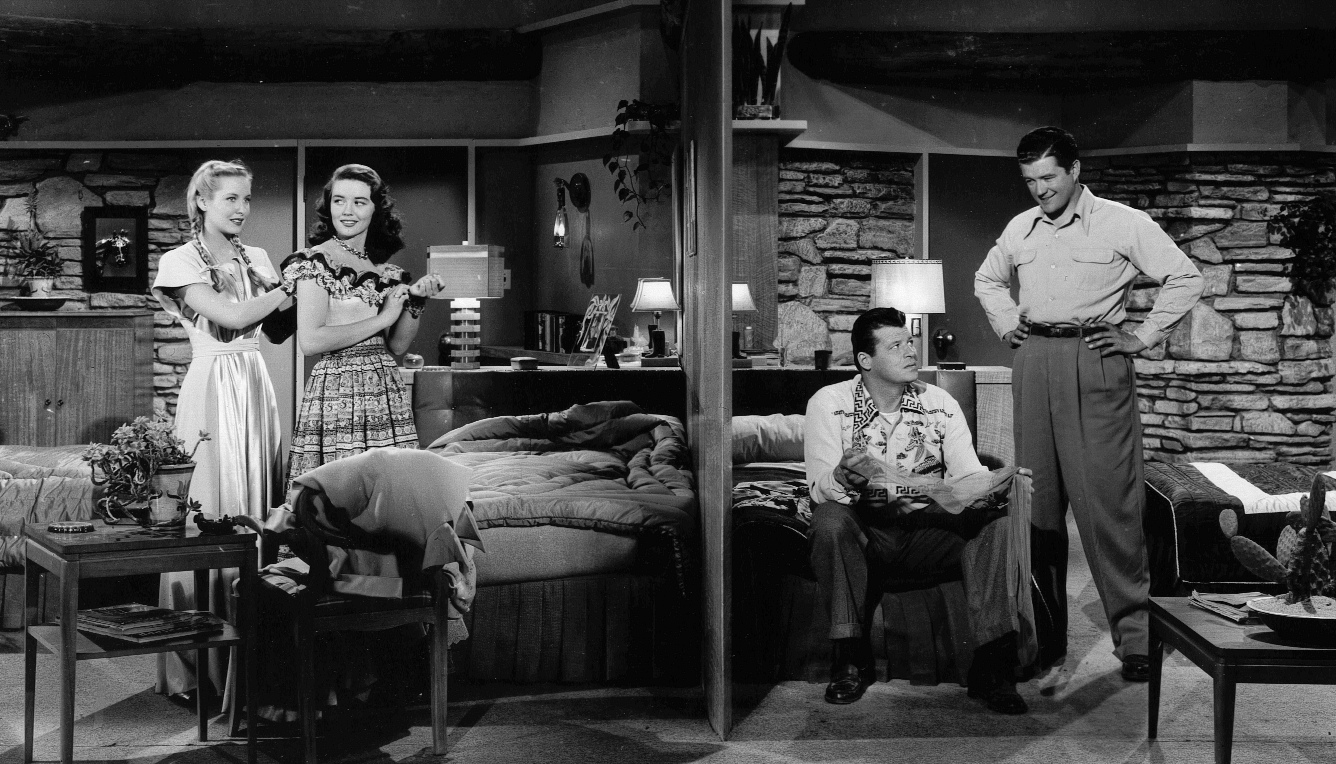 Jack Carson, Penny Edwards, Dorothy Malone, and Dennis Morgan in Two Guys from Texas (1948)