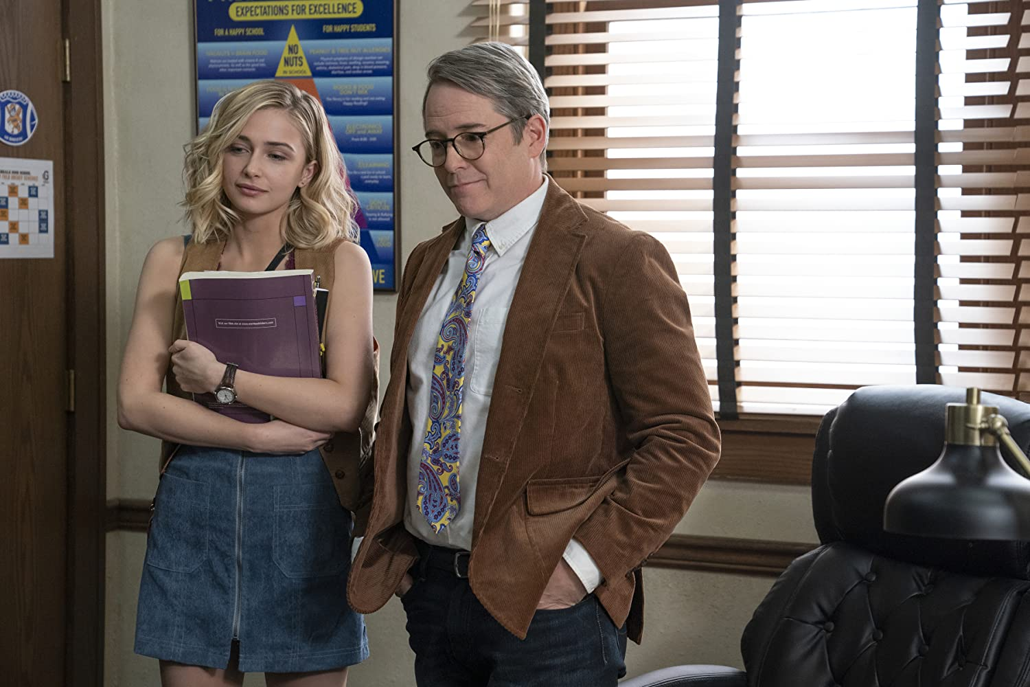 Matthew Broderick and Sophie Simnett in Daybreak (2019)