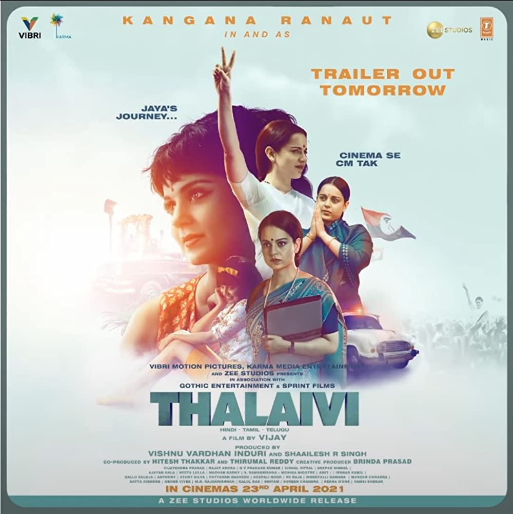 Thalaivi (2021) Hindi Movie Official Trailer 1080p HDRip Download