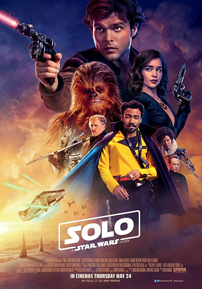 Woody Harrelson, Paul Bettany, Thandie Newton, Donald Glover, Alden Ehrenreich, Phoebe Waller-Bridge, Emilia Clarke, and Joonas Suotamo in Solo: A Star Wars Story (2018)