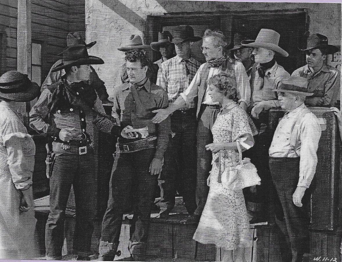 John Wayne, Tommy Coats, Arthur Millett, Sheila Terry, Lloyd Whitlock, and Jay Wilsey in The Lawless Frontier (1934)