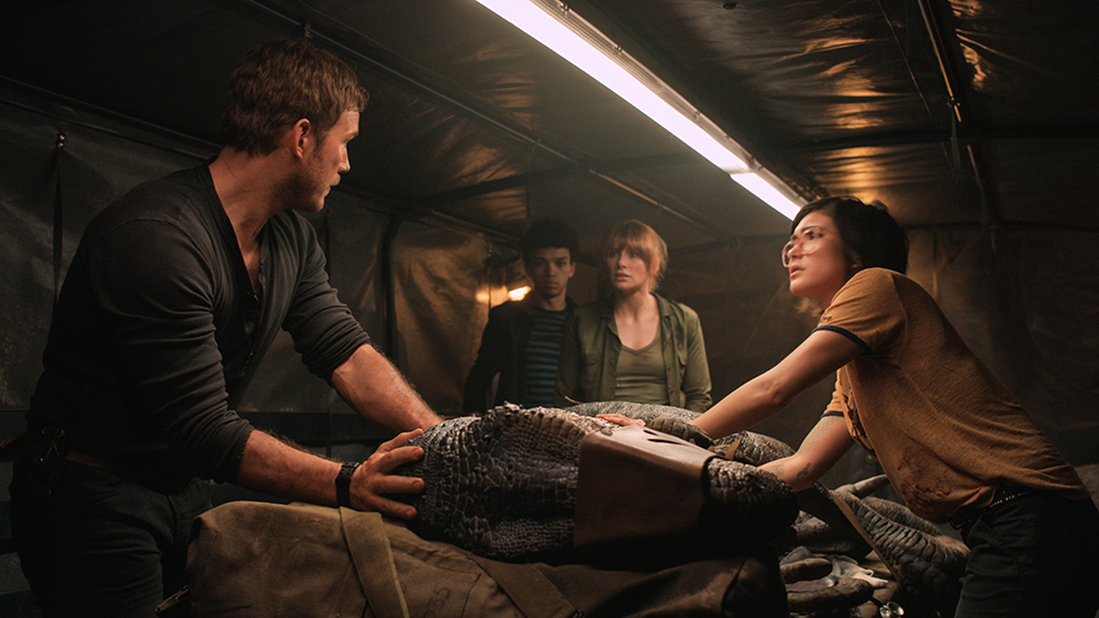 Bryce Dallas Howard, Chris Pratt, Daniella Pineda, and Justice Smith in Jurassic World: Fallen Kingdom (2018)