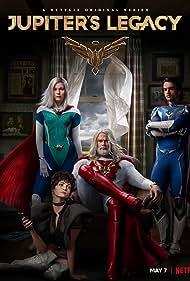 Leslie Bibb, Josh Duhamel, Elena Kampouris, and Andrew Horton in Jupiter's Legacy (2021)