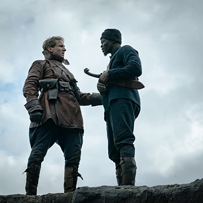 Ralph Fiennes and Djimon Hounsou in The King's Man (2021)