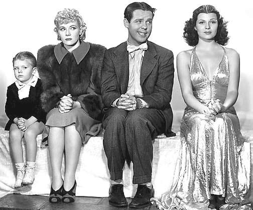Rita Hayworth, Arthur Lake, Larry Simms, and Penny Singleton in Blondie on a Budget (1940)