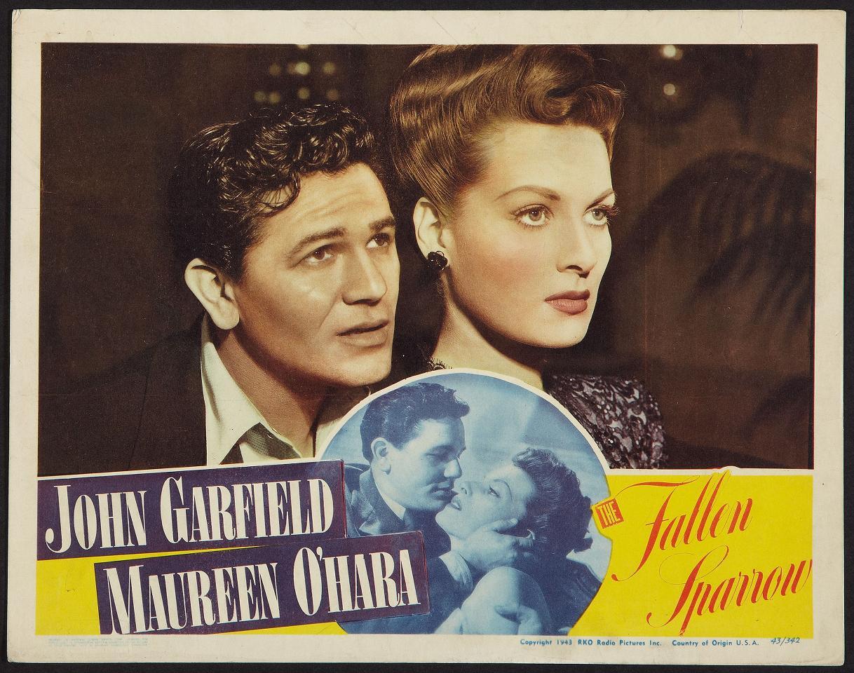 Maureen O'Hara and John Garfield in The Fallen Sparrow (1943)