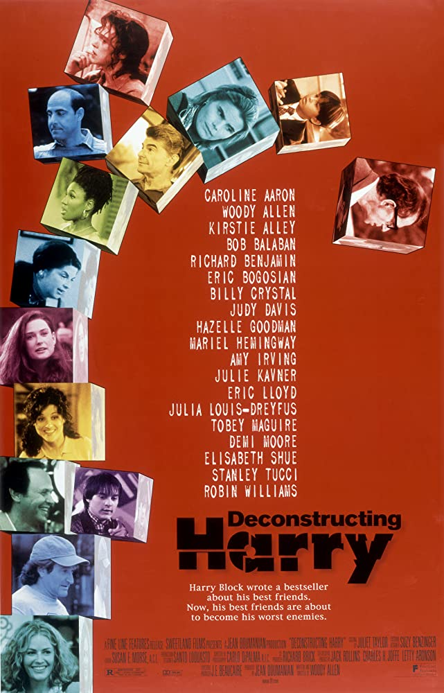 Woody Allen, Demi Moore, Elisabeth Shue, Robin Williams, Kirstie Alley, Billy Crystal, Mariel Hemingway, Julia Louis-Dreyfus, Richard Benjamin, Judy Davis, Tobey Maguire, and Stanley Tucci in Deconstructing Harry (1997)
